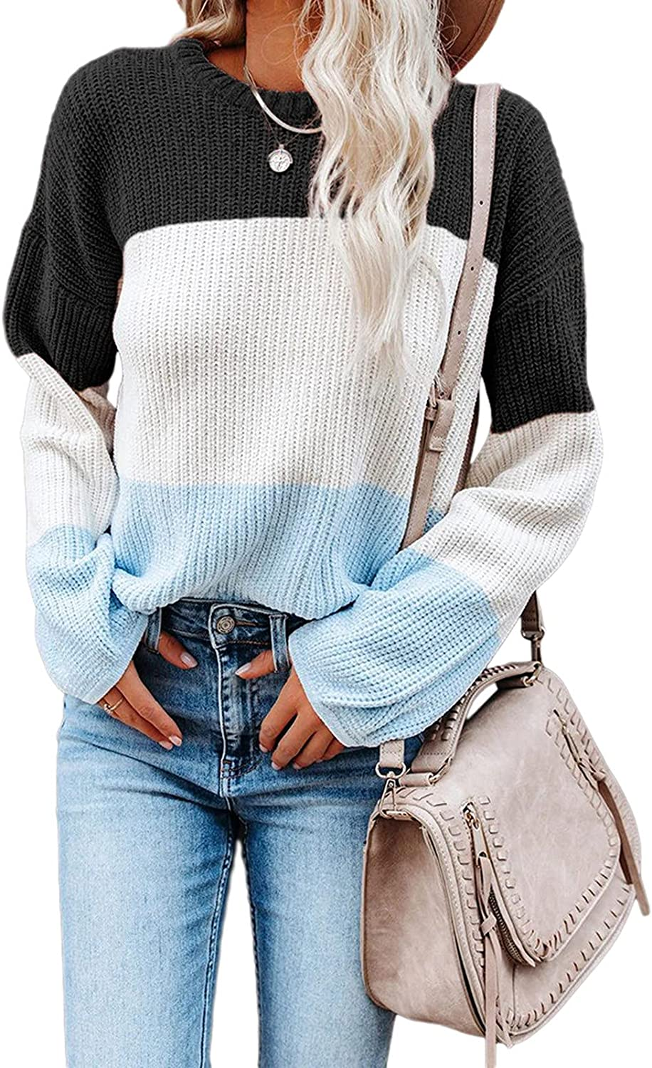 Women Waffle Color-Block Patchwork Sweater O Neck Long Sleeve Knitted Pullover Jumper Tops by Pocciol