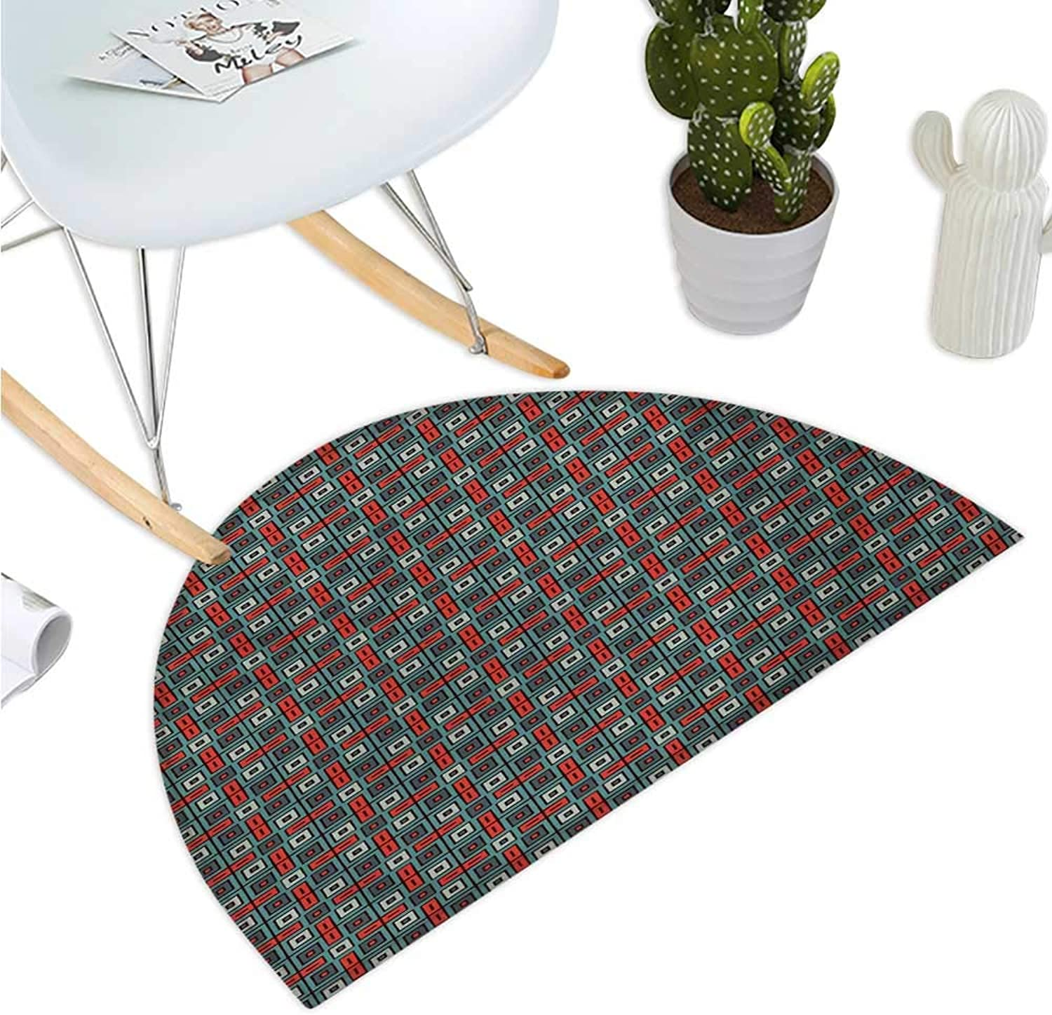 Geometric Semicircle Doormat Repeated Squares Ornamental Abstract Pattern in Ethnic Style Retro Mosaic Halfmoon doormats H 43.3  xD 64.9  Vermilion Teal
