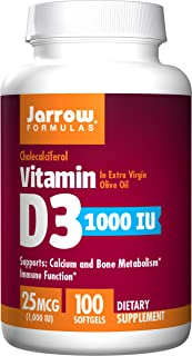 Jarrow Formulas Vitamin D3, Supports Calcium and Bone Metabolism, Immune Function, 1,000 IU, 100 Softgels, (Pack of 2)