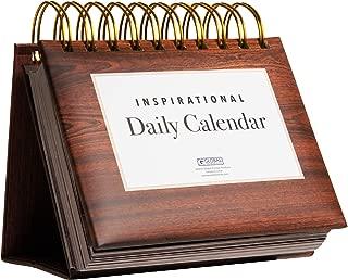 Motivational & Inspirational Perpetual Daily Flip Calendar with Self-Standing Easel (Woodgrain)