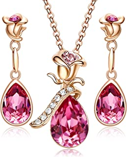 CDE Jewelry Sets for Women Rose Gold Jewelry Embellished with Pink Crystal from Austria Mothers Day Jewelry Gifts Necklace and Earrings Set for Mom Wife