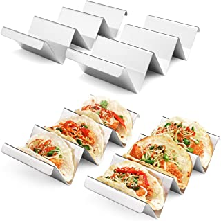 Taco Holder Stand 4 Packs - Stainless Steel Taco Rack Truck Tray Style by Artthome, Oven Safe for Baking, Dishwasher and Grill Safe