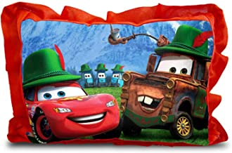 Generic Rectangle Shape Cartoon Printed Micro Fabric and Velvet Baby Pillow - 14 x 20-inches, Red