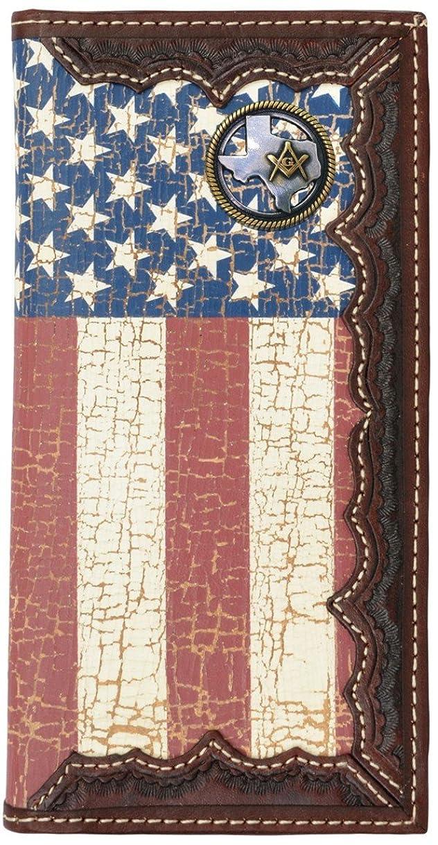 違法チャップカードカスタムTexas Masonアメリカ国旗Long Wallet with Distressed United States Flag