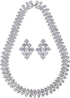 High-end jewelry bridal set necklace, zircon earrings