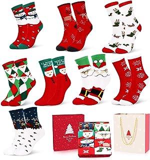 Emooqi, Calcetines de Navidad, Calcetines de Algodón de Navidad Calcetines Térmicos de Navidad Regalo de Navidad con Exquisita Caja de Regalo y Bolsa de Regalo Para