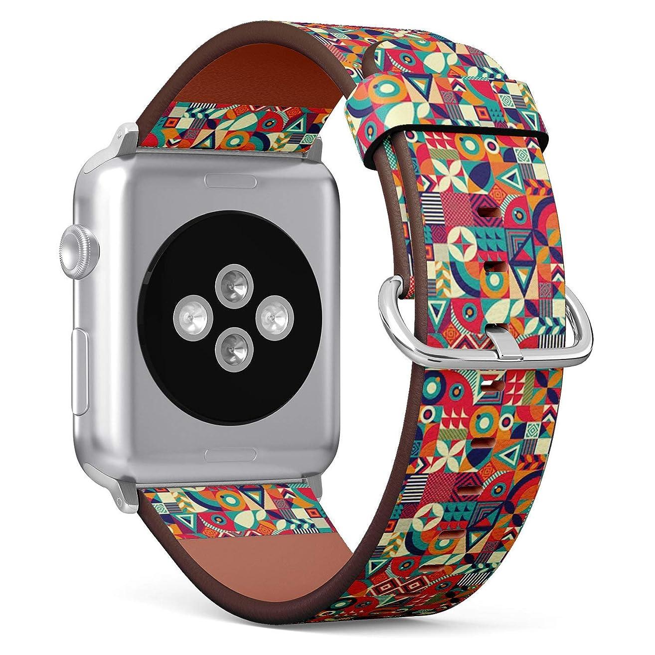 に対処するカセット卵[ コンパチブル Apple Watch 38mm/40mmバンド ] レザーストラップ, iWatch Series 4/3/2/1、向けのバンド交換ストラップです コンパチブル アップルウォッチ バンド[ カラフルなポップ ]