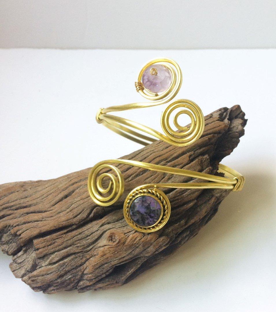 Luxury Handmade latest purple gems gold Charoite Raleigh Mall cuff Amethyst A arm