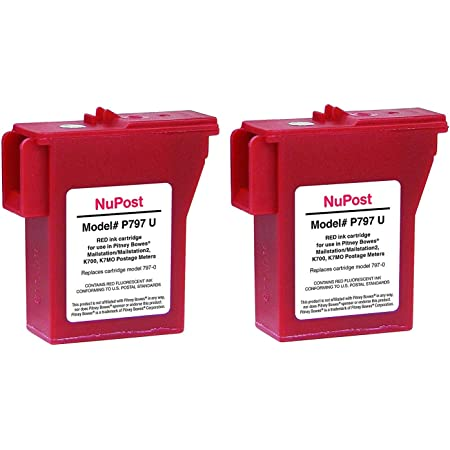 K-700, 797-0, 797-Q, 797-M, Pitney Bowes NuPost Brand NPTK700 Compatible Red Ink Cartridge Replacement for Pitney Bowes Postage Meter Mailstation/Mailstation2 K700, K7MO (2 Pack)