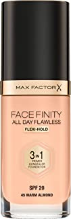 Max Factor Face Finity All Day Flawless 3-In-1 Foundation, 45 Warm Almond, 30ml