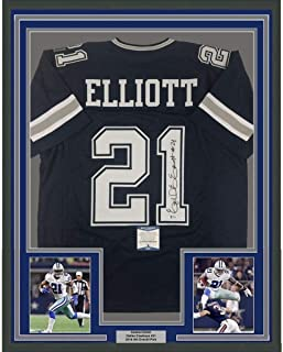 Framed Autographed/Signed Ezekiel Elliott 33x42 Dallas Dark Blue Football Jersey Beckett BAS COA