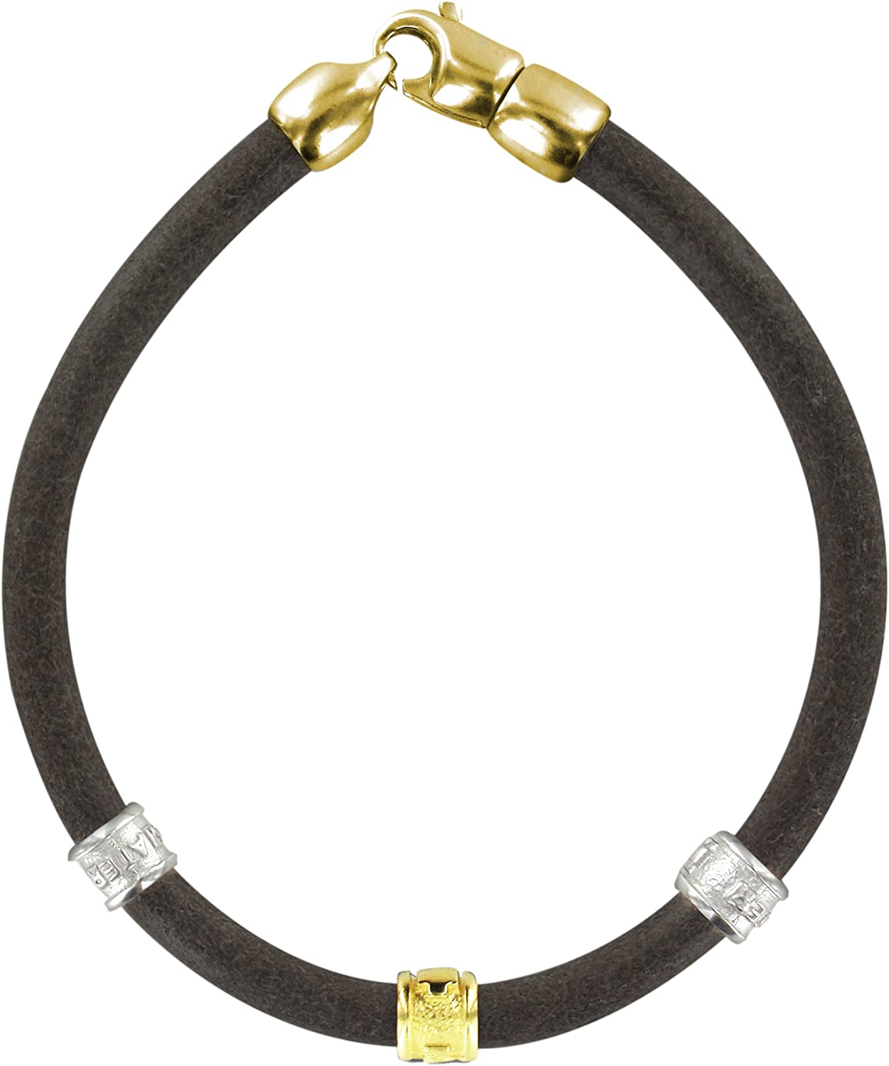 Ferrari & Arrighetti CNS Trinity Bracelet in Black Leather with Brass Inserts in the bathroom Yellow and White gold