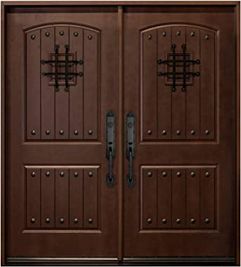 "Dark Walnut Fiberglass Doors,Front Entry Double Doors with Speakeasy(Right-Hand, Double Doors 72""x80"")"
