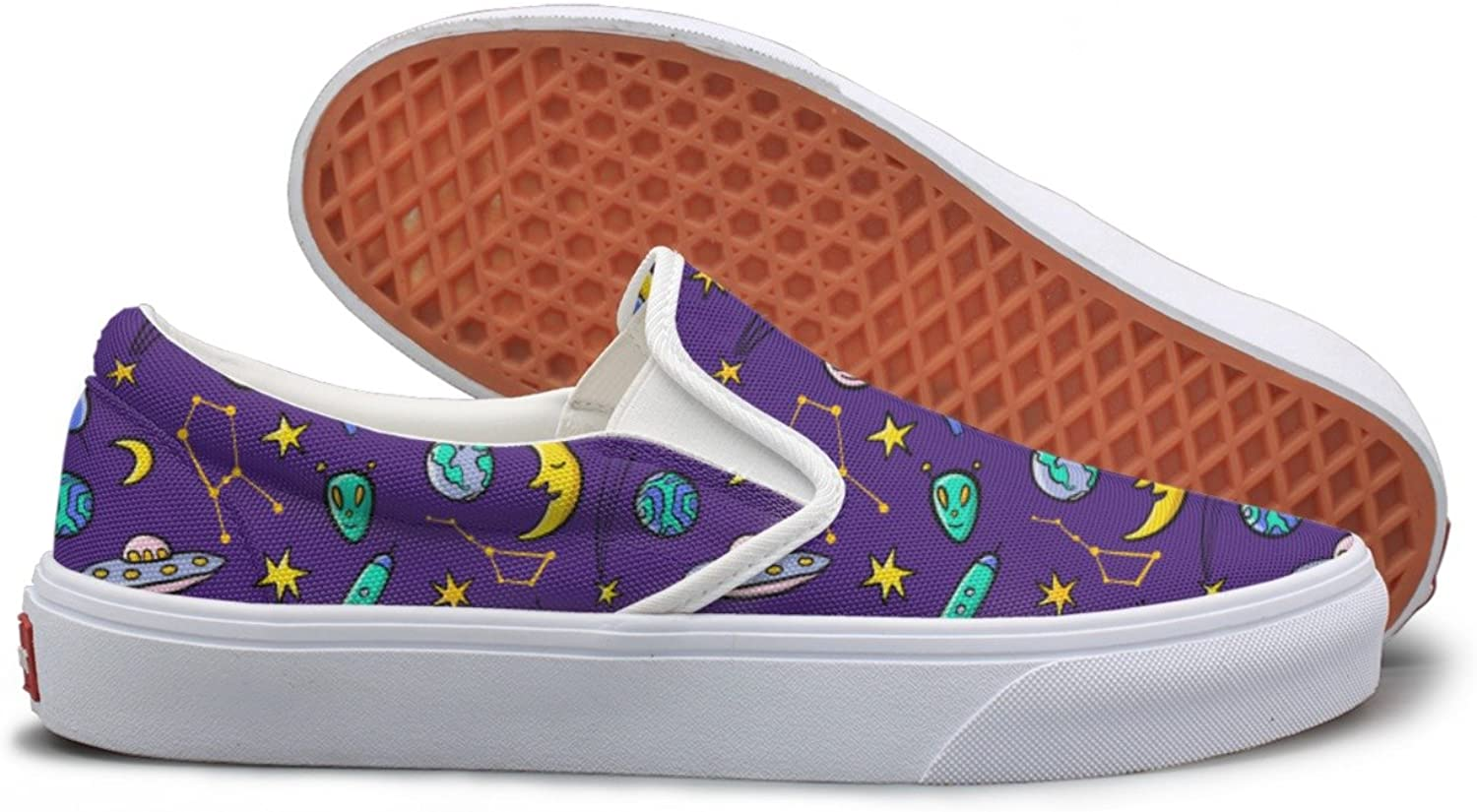 Lalige Hand Drawn Doodle Space Women Classic Canvas Slip-ONS Sneakers shoes