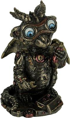 USI Steampunk Dragon Tinkerer w/Goggles Mechanical Gear Figurine
