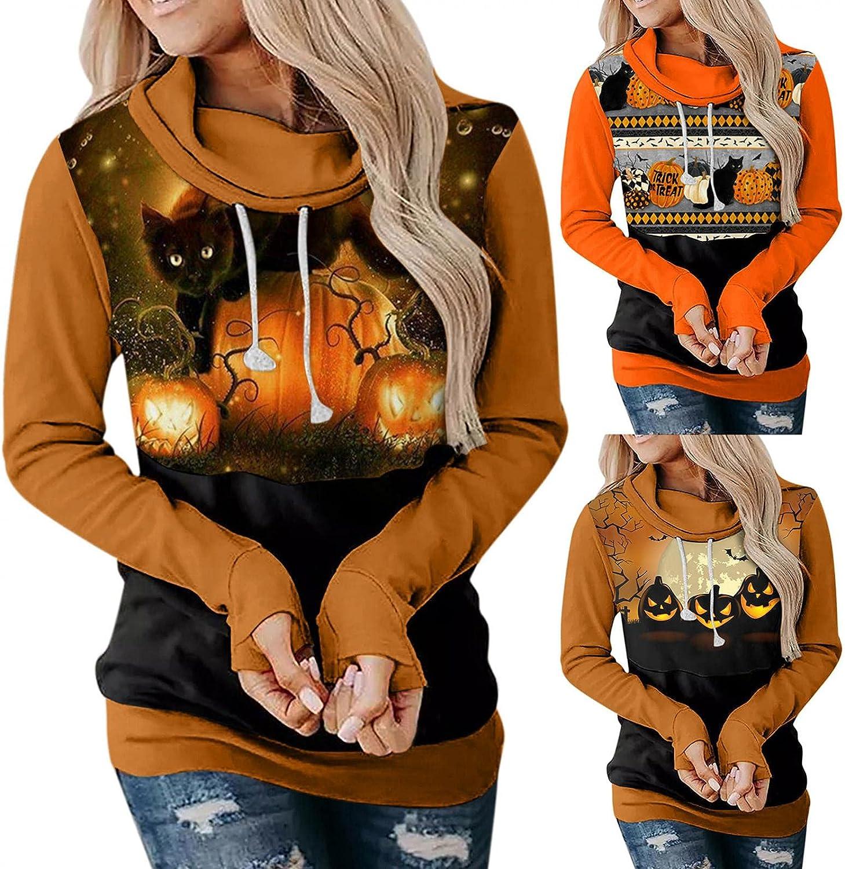 Fudule Halloween Shirts for Women Funny Pumpkin Black Cat Graphic Hoodies Long Sleeve Crewneck Sweatshirts Casual Blouse