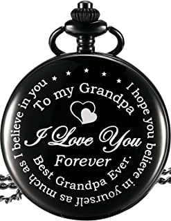 Hicarer Pocket Watch Gift for Grandpa - Best Grandpa Ever, I Love You Forever - from Granddaughter Grandson to Grandpa Pocket Watch with Chain (Grandpa Gifts, Black Roman Dial)