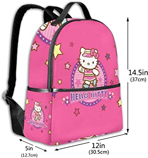 Classic School Backpack Pink Hello Kitty Unisex College Schoolbag Travel Bookbag Black