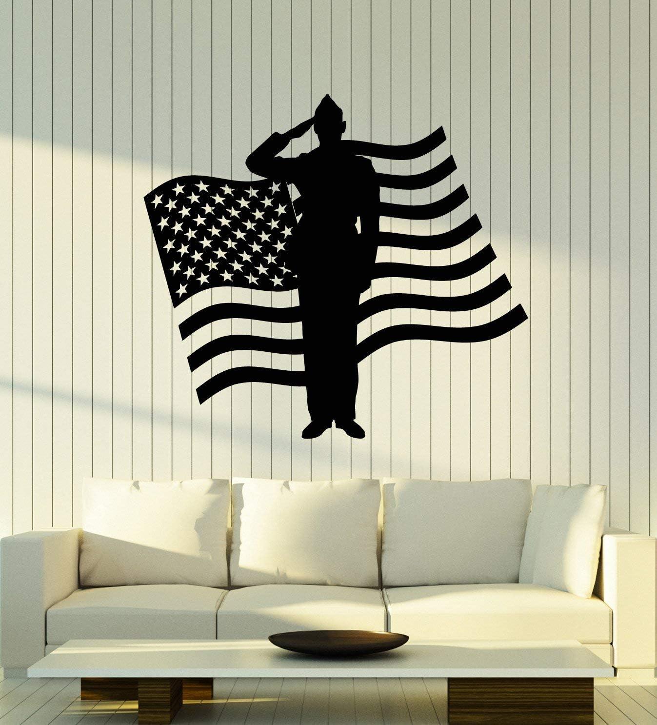 Vinyl キャンペーンもお見逃しなく Wall Decal 永遠の定番 American Flag Soldier Military Patriotic Art St