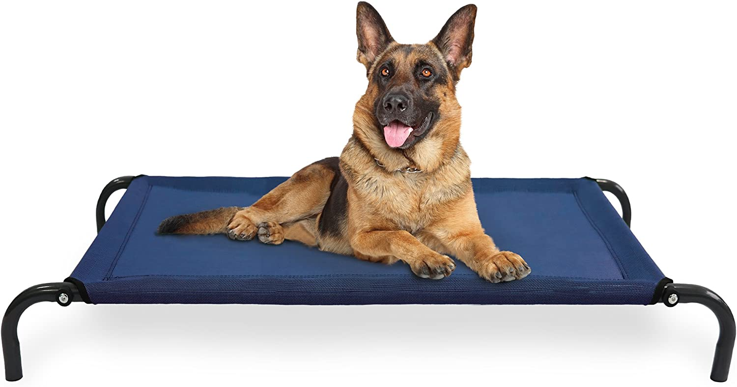 FurHaven Pet Cot Bed   Elevated Cot Pet Bed for Dogs & Cats, Deep bluee, Large