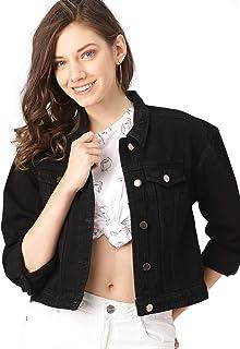Shocknshop Full Sleeves Regular Fit Casual Crop Black Denim Turn-Down Jacket for Women (DJKT13)