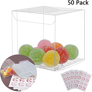 Yunko 50Pcs PET Transparent Boxes for Gift Candy Treat Cupcake Pack with Free Sticker, Wedding Party supply and Baby Shower Favors