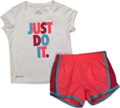 Nike Girl's Graphic-Print T-Shirt & Shorts 2 Piece Set (Hot Punch(16D263-A5C)/White, 24 Months)