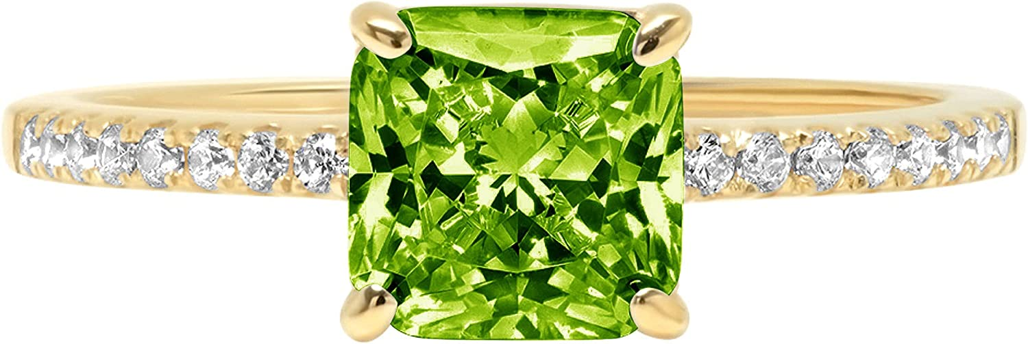 1.6ct Brilliant Asscher Cut Solitaire with Accent Designer Genuine Natural Vivid Green Peridot Gemstone Ideal VVS1 Engagement Promise Statement Anniversary Bridal Wedding ring 14k Yellow Gold