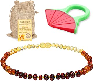 Raw Baltic Amber Teething Necklace For Babies - (Rainbow) Anti-Flammatory, Drooling & Teething Pain Reduce Properties - Natural Certificated Oval Baltic Jewelry with the Highest Quality