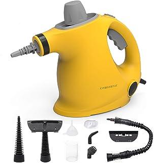 Comforday多目的ハンドヘルド加圧スチームクリーナー、汚れ除去用の9ピースアクセサリー、スチーマー、カーペット、カーテン、カーシート、キッチンの表面など、黄色