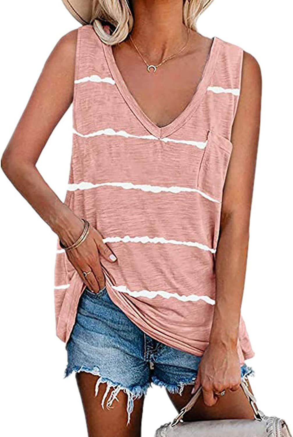 Women'S Fashion Summer Loose And Comfortable V-Neck Sleeveless Vest, Outdoor Leisure Short-Sleeved T-Shirt Top