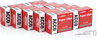 ACCO Paper Clips, Jumbo, Smooth, Economy, 10 Boxes, 100/Box (72580),Silver