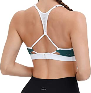 ALONG FIT Strappy Sports Bra for Women Racerback Medium Support Yoga Bra with Removable Pads