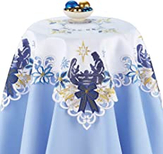 Holy Family Embroidered Christmas Table Linens with Blue and Gold Accents - Holiday Dining Room Decor