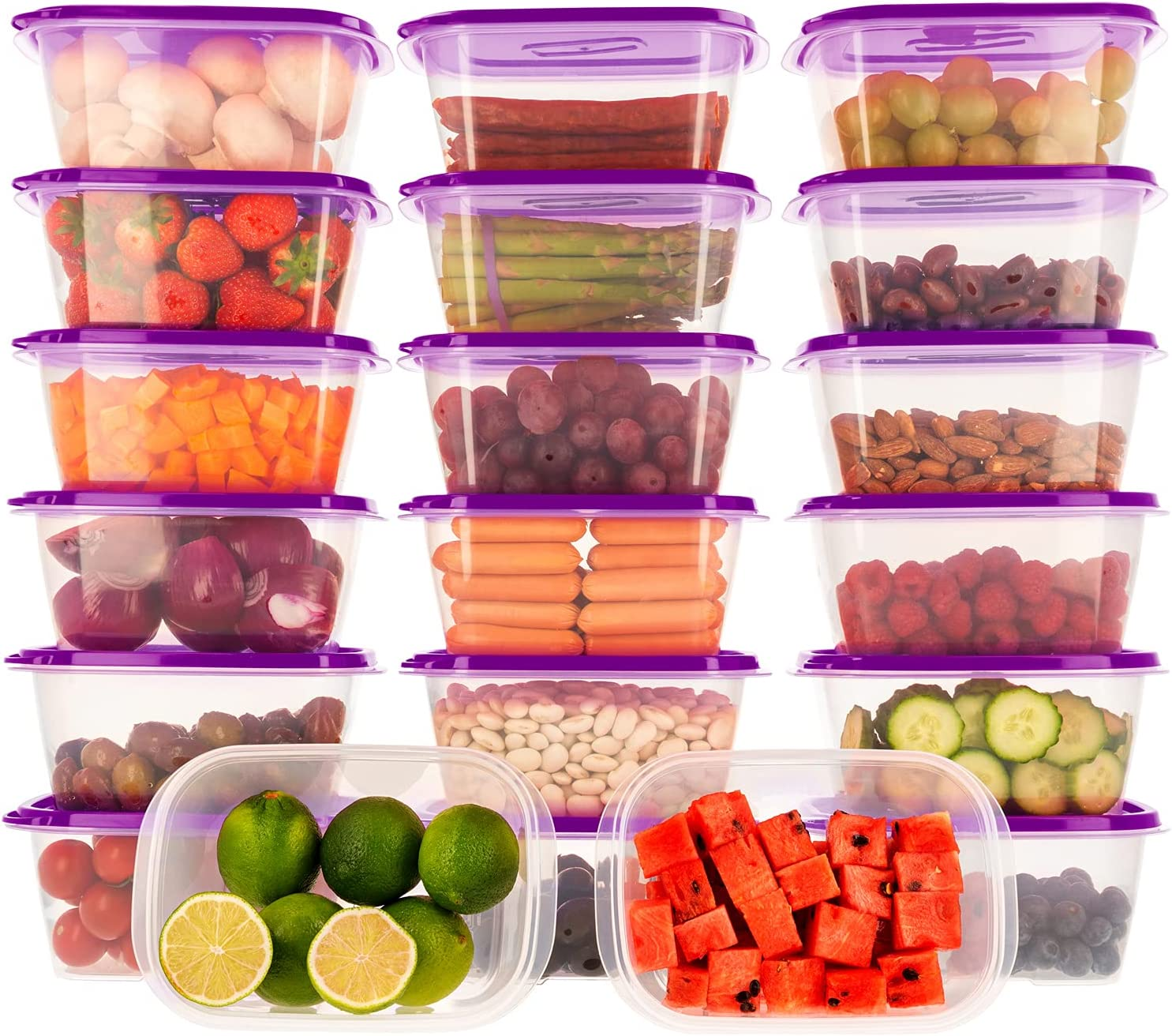 Oursson Recipientes Plastico para Alimentos Almacenaje Cocina con Tapas Púrpura   Set de 20 Piezas x 1L   Sin BPA   Tapers para Comida Hermetico   Lunch Box   Fiambrera   Organizador Frigorifico  
