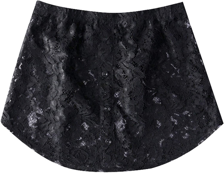 Women Shirt Extender Elastic Waist Lace Layered Max 56% OFF Top Fake Trim Minneapolis Mall Lo