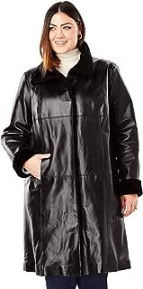 Women's Plus Size Fur-Trim Leather Swing Coat