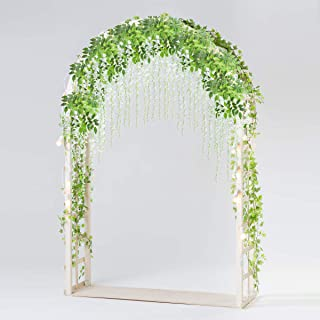 Bomarolan Wisteria Artificial Silk Vine Flowers Fake Hanging Garland for Wedding Arch Backdrop Decor 3 5/8 Feet Pack of 12 Pieces(White)