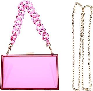 KESYOO Clear Crossbody Bag See Through Purse Acrylic Clutch Bag Mini Shoulder Handbag with Removable Gold Chain (Yellow)