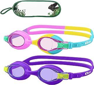 MONKEY FOREST Kid Swim Goggles, 2 Packs Anti-Fog No Leak Kids Swimming Goggles, Adjustable Strap Flexible Nose Bridge Desi...