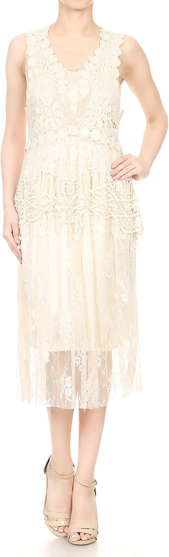 Anna-Kaci Women Sleeveless Boho Lace Crochet Vest Fit Flare Cocktail Party Dress