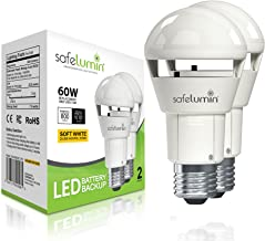 Safelumin SA19-800G27 2PK Emergency Rechargeable Light Bulbs for Home Power Failure, Works as Normal LED Light Bulb & 3Hrs...