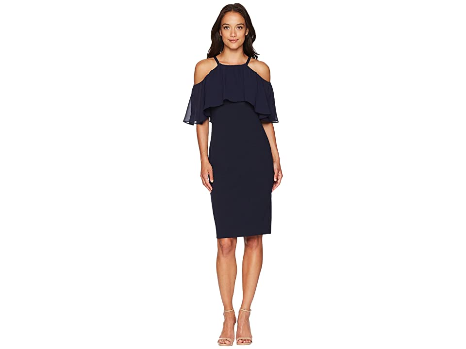 Vince Camuto Halter Cold Shoulder Bodycon with Chiffon Overlay (Navy) Women