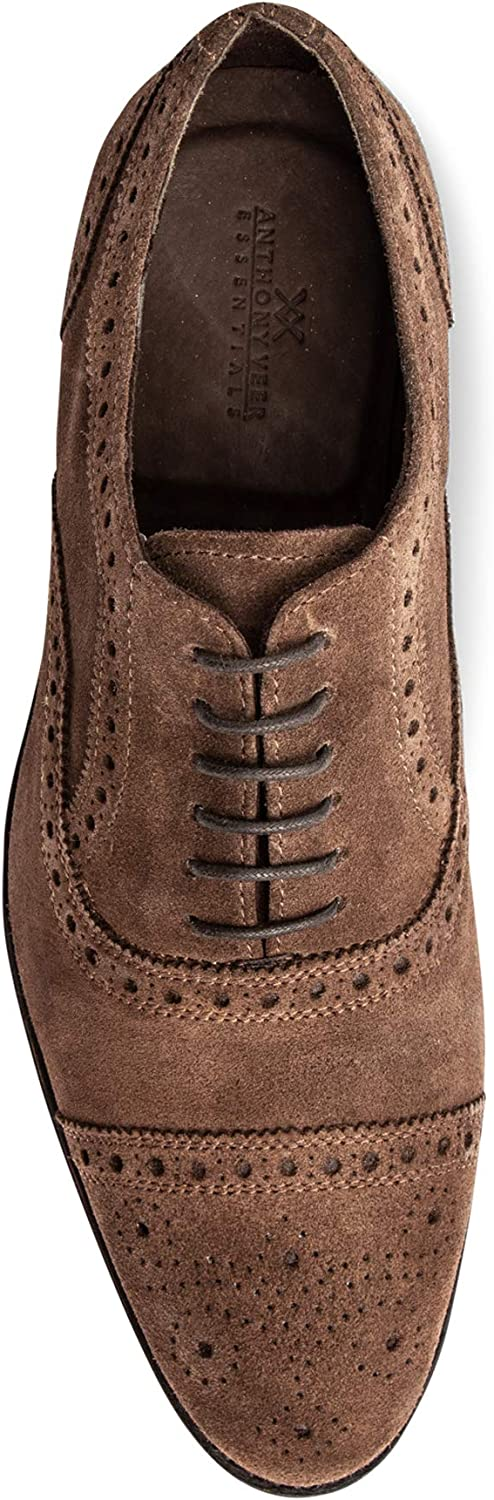 Anthony Veer Men's Ford Wingtip Brogue Lace-up Full Grain Leather Dress Formal Wedding Office Shoes Goodyear Welt