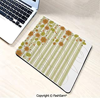 Desk Mat Mouse Pad Retro Flourishing Spring Flowers and Swirled Branches on Striped Background for Office(W7.8xL9.45)