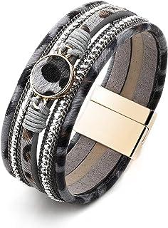 PLTGOOD Leather Wrap Bracelet for Women, Boho Cuff Bracelet, Handmade Leopard Bracelet Wristband with Magnetic Clasp