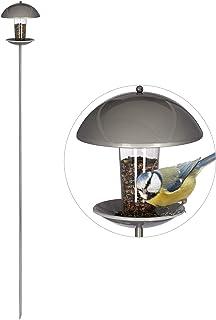 Relaxdays Mangeoire à oiseaux, Distributeur de graines en silo, jardin ou balcon, avec piquet H : 172 cm, argenté
