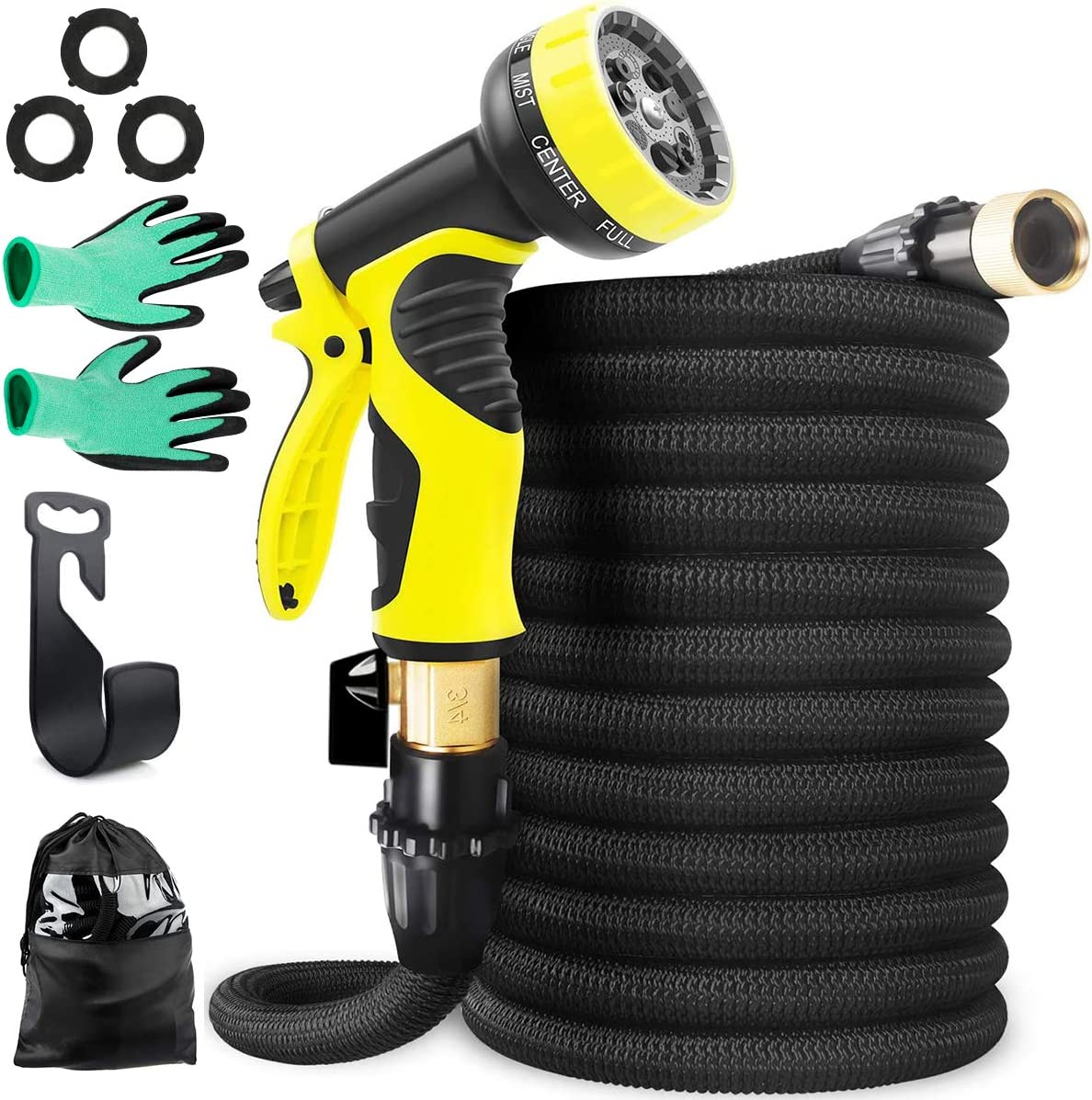 BluePowe Expandable Garden Hose & 9 Function Nozzle,50 FT Lightweight/Retractable/Flexible Water Hose, Extra Strength with 3/4 Inch Solid Brass Fittings & Triple Latex Core Rot, Crack, Leak Resistant