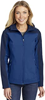 Port Authority Ladies Hooded Core Soft Shell Jacket. L335, Night Sky Blue/Dress Blue Navy, XS
