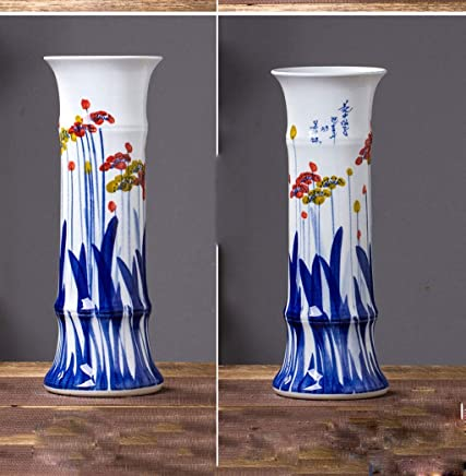 Hand-painted ceramic vases steadily high ornaments living room floor hydroponic lucky bamboo flower arrangement is a single bottle of jewelry Large: 48cm diameter 17cm high trumpet: High 36.5cm